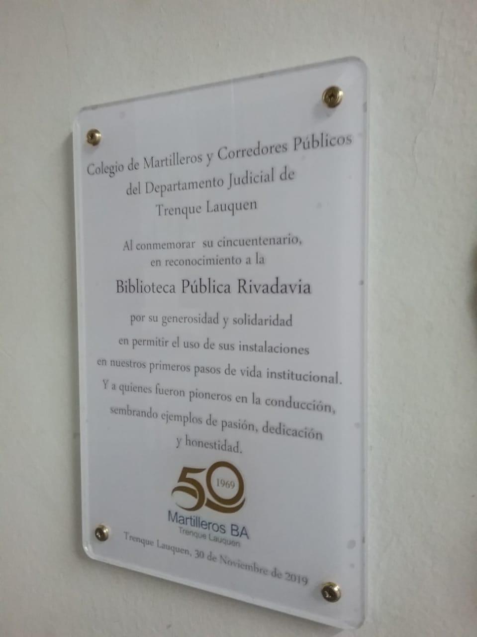 50 aniversario del Colegio de Martilleros y Corredores Públicos del Departamento Judicial Trenque Lauquen